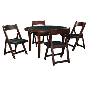 "Ram Game Room 48"" Fold Game Table and Chairs 5 pc Set- Cappuccino Poker Table Set RAM Game Room - Express Home Bars"