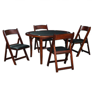 "Ram Game Room 48"" Fold Game Table and Chairs 5 pc Set- Chestnut Poker Table Set RAM Game Room - Express Home Bars"