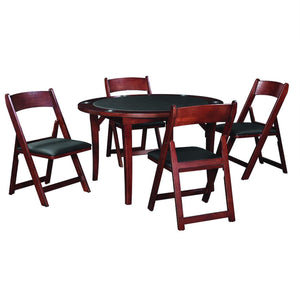 "Ram Game Room 48"" Fold Game Table and Chairs 5 pc Set- English Tudor Poker Table Set RAM Game Room - Express Home Bars"
