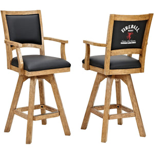 "ECI Set of 2 Fireball 30"" Black Leather, Distressed Wooden Bar Stool with Arms and Back Bar Stool ECI - Express Home Bars"