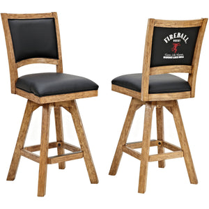 "ECI Set of 2 Fireball 30"" Black Leather Distressed Wooden Bar Stools with Back Bar Stool ECI - Express Home Bars"