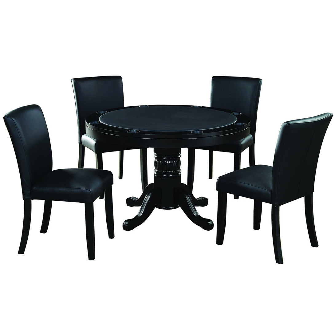 Ram Game Room 48' 2 in 1 Poker Table and Chair 5 Piece Set - Black w/ Dining Chiars Poker Table Set RAM Game Room - Express Home Bars