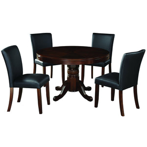 Ram Game Room 48' 2 in 1 Poker Table and Chair 5 Piece Set - Cappuccino w/ Dining Chiars Poker Table Set RAM Game Room - Express Home Bars
