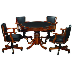 Ram Game Room 48' 2 in 1 Poker Table and Rolling Game Chair 5 Piece Set - Chestnut Poker Table Set RAM Game Room - Express Home Bars