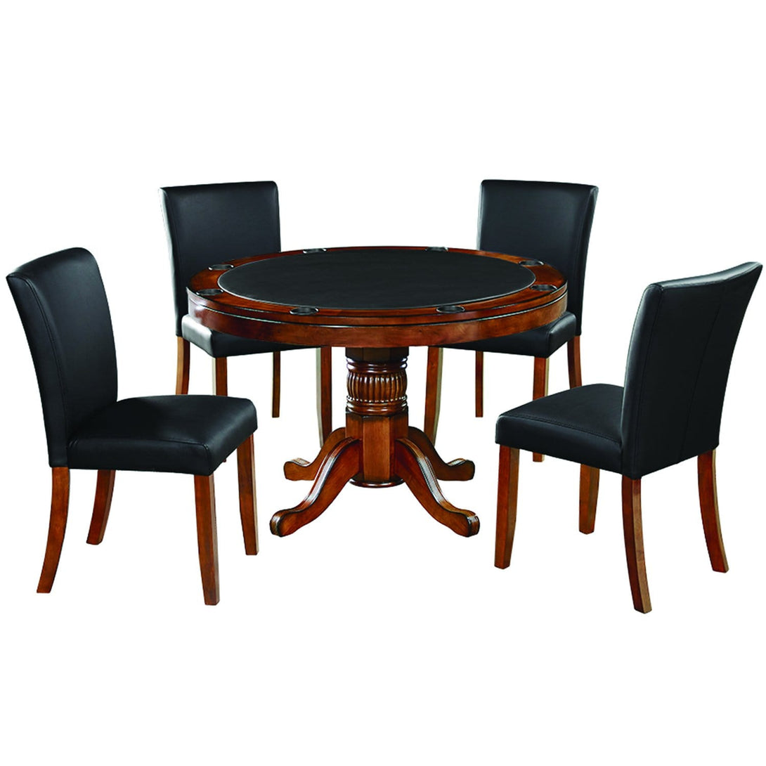 Ram Game Room 48' 2 in 1 Poker Table and Chair 5 Piece Set - Chestnut w/ Dining Chiars Poker Table Set RAM Game Room - Express Home Bars