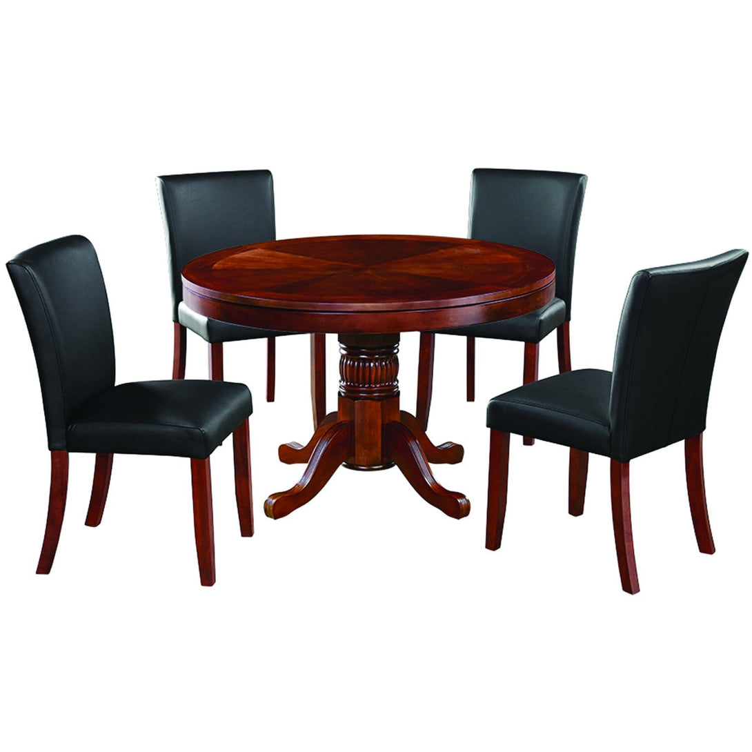 Ram Game Room 48' 2 in 1 Poker Table and Chair 5 Piece Set - English Tudor w/ Dining Chiars Poker Table Set RAM Game Room - Express Home Bars