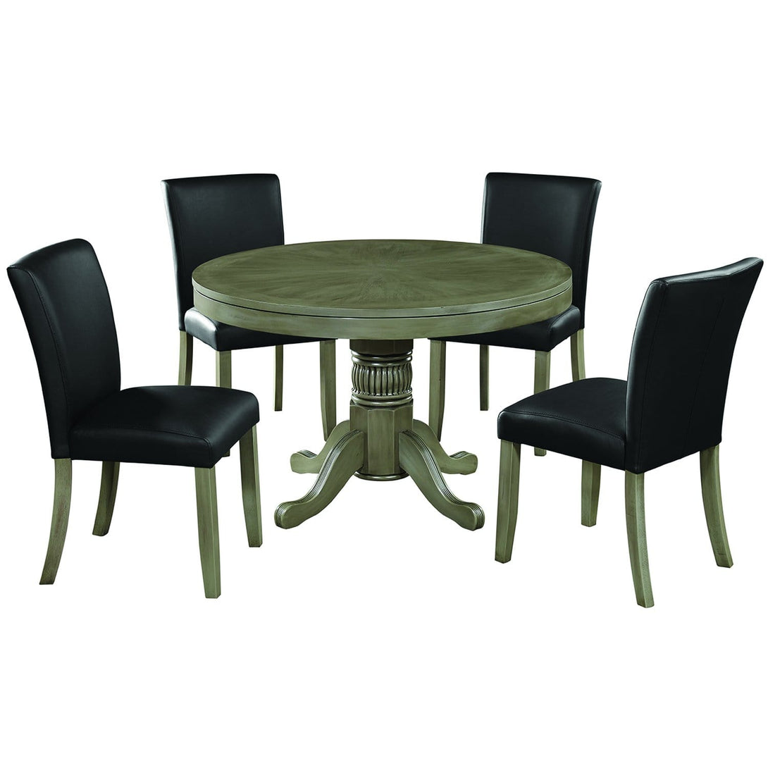 Ram Game Room 48' 2 in 1 Poker Table and Chair 5 Piece Set - Slate w/ Dining Chiars Poker Table Set RAM Game Room - Express Home Bars