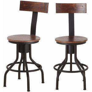 World Interiors ,Artezia, Set of 2 Acacia Wood and Iron Adjustable Height Bar Stools in Walnut Finish Bar Stool World Interiors - Express Home Bars