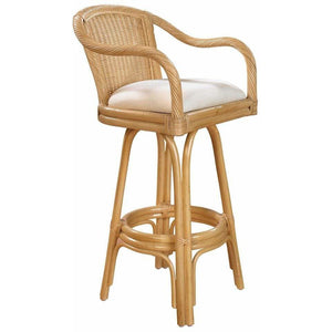 "Hospitality Rattan Key West Indoor Swivel Rattan & Wicker 30"" Bar Stool With Arms in Natural Finish Bar Stool Hospitality Rattan Home - Express Home Bars"