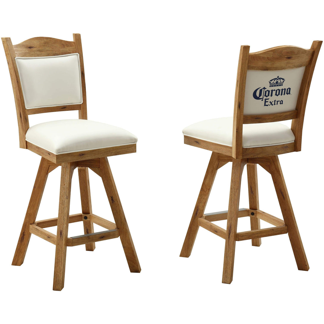 ECI Set of Two Corona Walnut and White Leather Wooden Bar Stools with Backs Bar Stool ECI - Express Home Bars