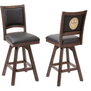"ECI - Set of Two Guinness 30"" Black Leather Distressed Wood Armless Swivel Bar Stools with Back Bar Stool ECI - Express Home Bars"