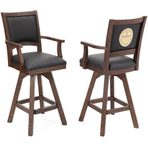 "ECI - Set of 2 - Guinness 30"" Black Leather and Distressed Wood Swivel Bar Stool with Arms and Back Bar Stool ECI - Express Home Bars"