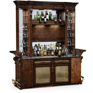 Linenfold Tudor Oak Back Bar and Hutch Home Bar by Jonathan Charles Fine Furniture Bar Jonathan Charles Fine Furniture - Express Home Bars