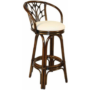 "Hospitality Rattan Valencia Indoor Swivel Rattan & Wicker 30"" Barstool in Antique Finish Bar Stool Hospitality Rattan Home - Express Home Bars"