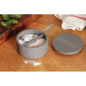 Cement Salt Cellar with Spoon - Brovelli Oils, Vinegars & Gifts