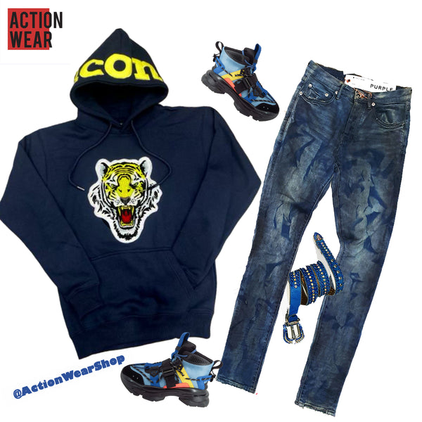 Icon Tiger Logo Hoodie (Navy/Yellow) - Action Wear