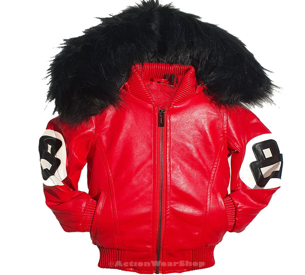 Men 8 Ball Leather Jacket - MPU8BH Red - Action Wear
