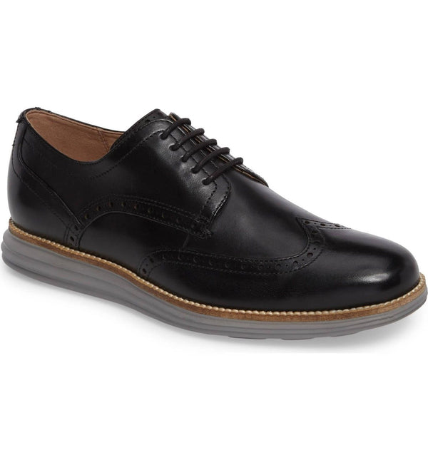 Men's Cole Haan Original Grand Shortwing Black Leather-Ironstone C26470 - Action Wear
