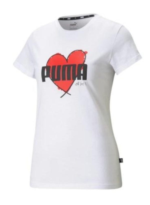 Puma Heart T-Shirt 587897 01 White - Action Wear