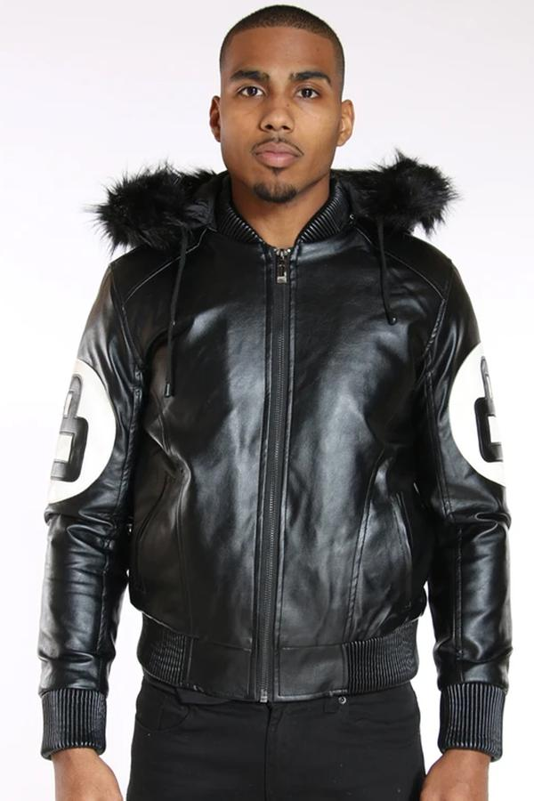 Men 8 Ball Leather Jacket - MPU8BH Black - Action Wear