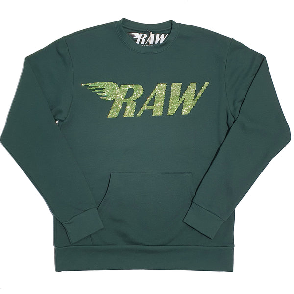 Green Raw Blink Crewneck For Men - RC-BLING RAW