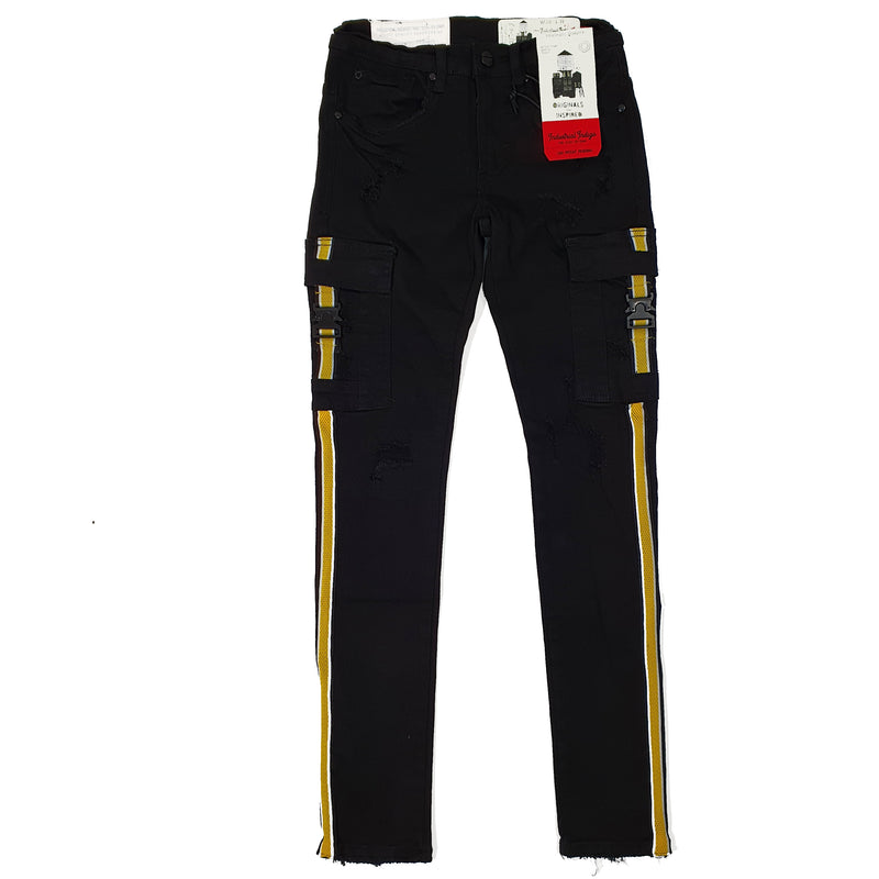 Industrial Indigo Black Jeans With Yellow Stipe - INT-WB-105