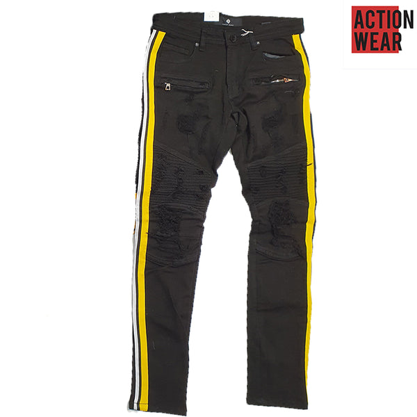 Focus Black Jeans with yellow Strip for Men - F3182 - Action Wear
