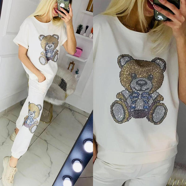Teddy Bear Sweat Suite For Women 78501 White - Action Wear