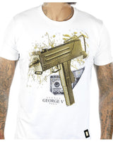 Men's George V Paris Gun Stones T-shirt White GV2067 - Action Wear
