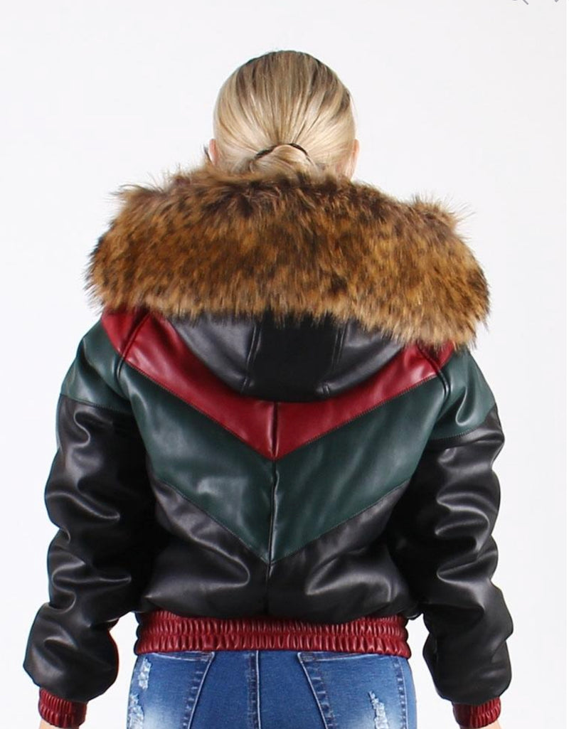 Women Faux Leather V Bomber Jacket with Detachable Faux Fur Hood - WJK922 - Action Wear