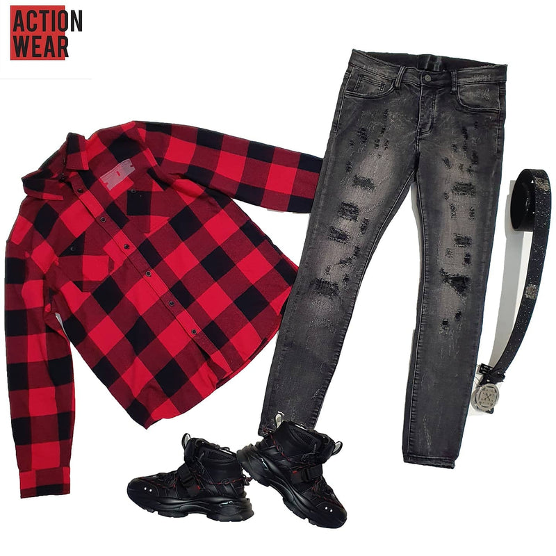 Speed Demon Flannel Button Down RED - Action Wear