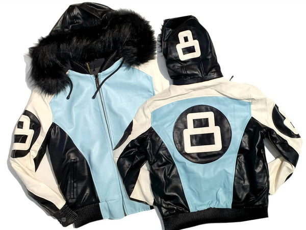 Men 8 Ball Leather Jacket - MPU8BH White/Sky Blue - Action Wear