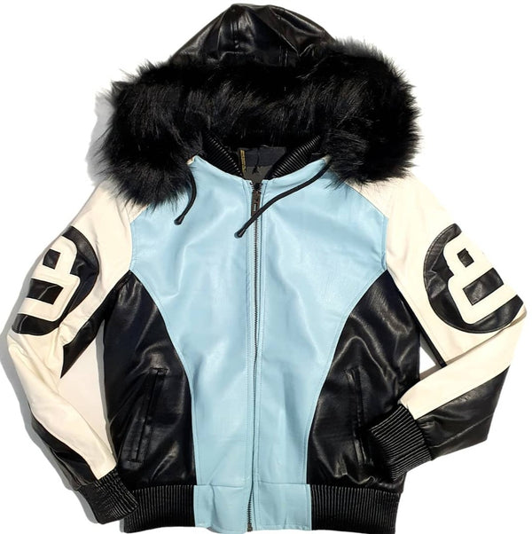 Women 8 Ball Leather Jacket - LPU8BH White/Sky Blue - Action Wear