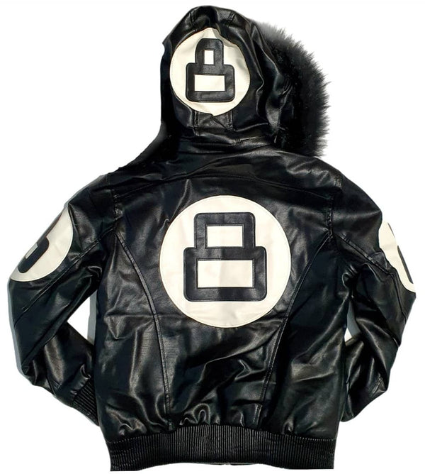 Women 8 Ball Leather Jacket - LPU8BH Black - Action Wear