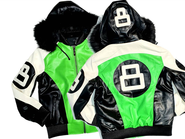 Men 8 Ball Leather Jacket - MPU8BH White/Lime - Action Wear
