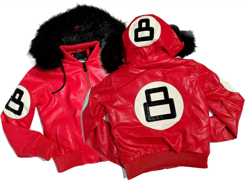 Women 8 Ball Leather Jacket - LPU8BH Red - Action Wear