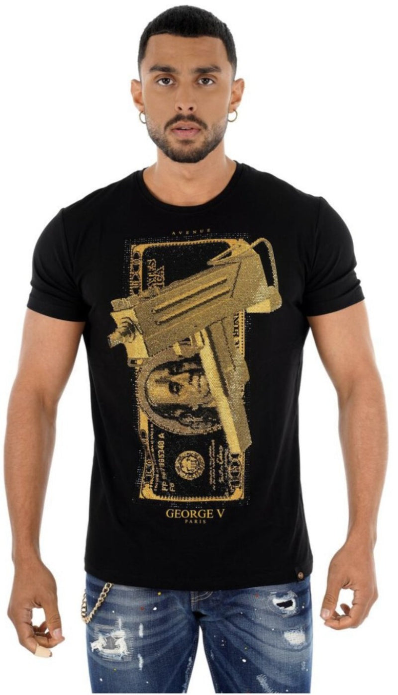 George V Gun T Shirt For Men - GV2222 Black - Action Wear