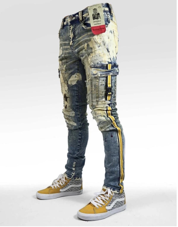 Industrial Indigo Jeans With Yellow Stripe - INT-WB-102 - Action Wear