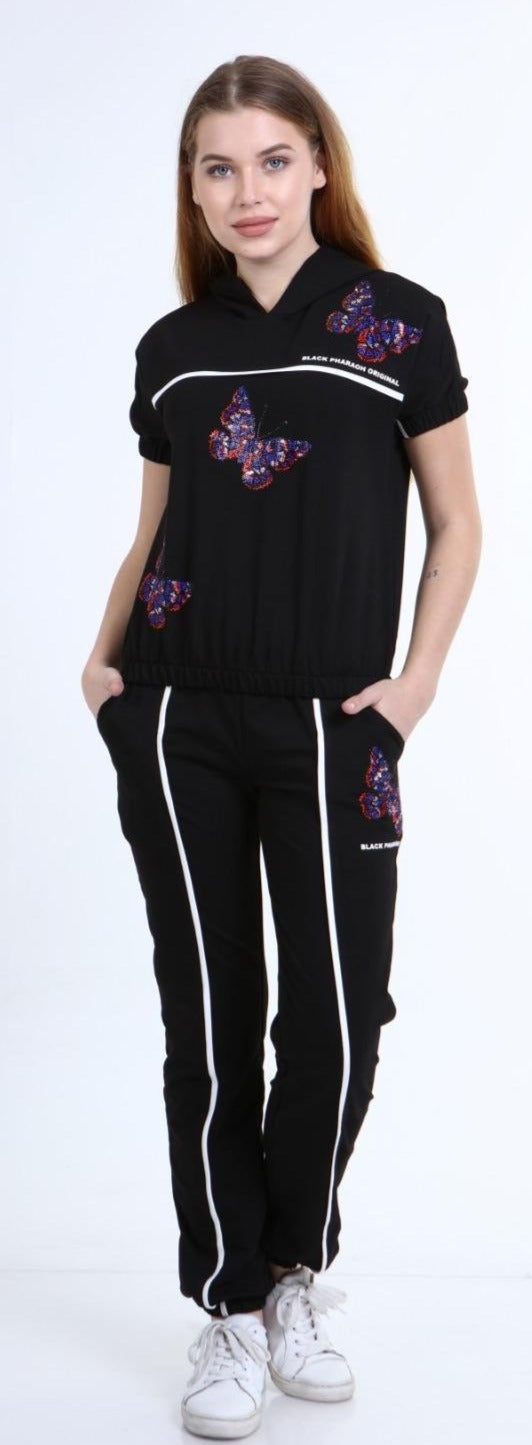 Butter Fly Sweat Suite For Women 78479 Black - Action Wear