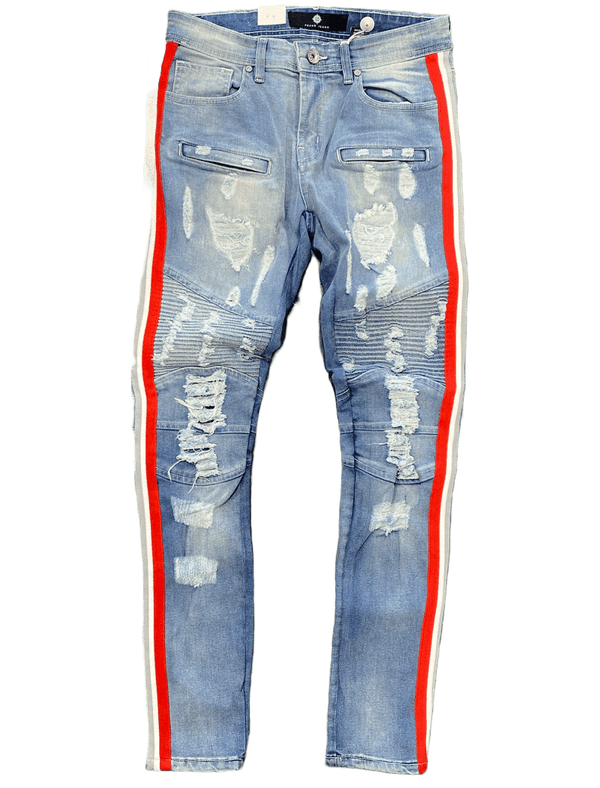 Focus Men's Jeans Light Blue With White/Red Stripes FC3182 - Action Wear
