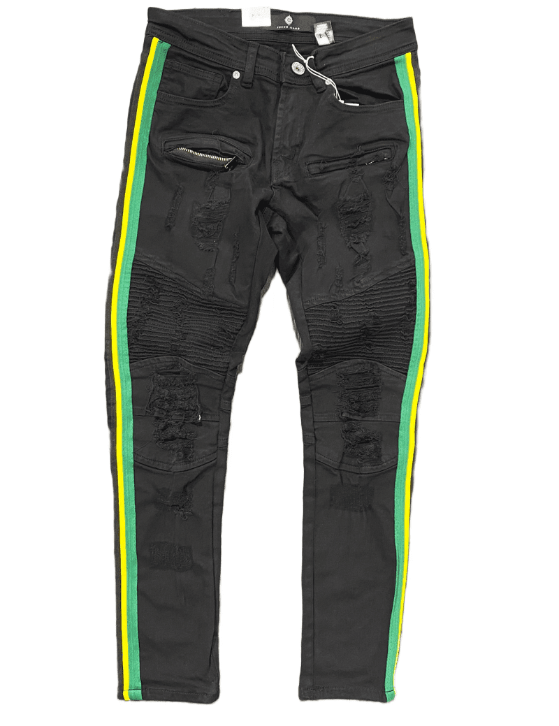 Focus Men's Jeans Black With Green/Yellow Stripe FC3182