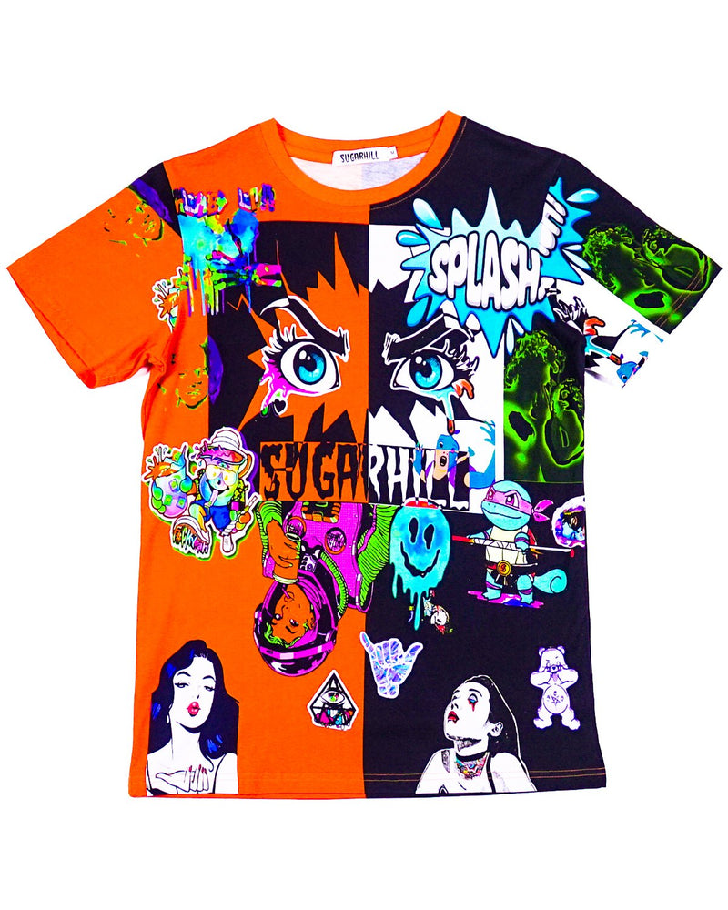 Split Orange & Black PSYCHO Tee For Men - SH-PSY
