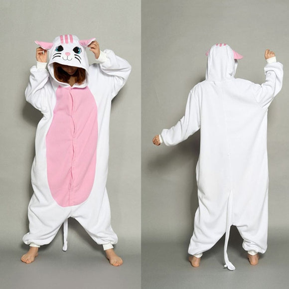 White Kitty Cat Onesie Pajama - KittyCatPurrfect