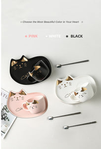 200ML Cartoon Cat Ceramics Mug Set With Saucers Spoon - KittyCatPurrfect