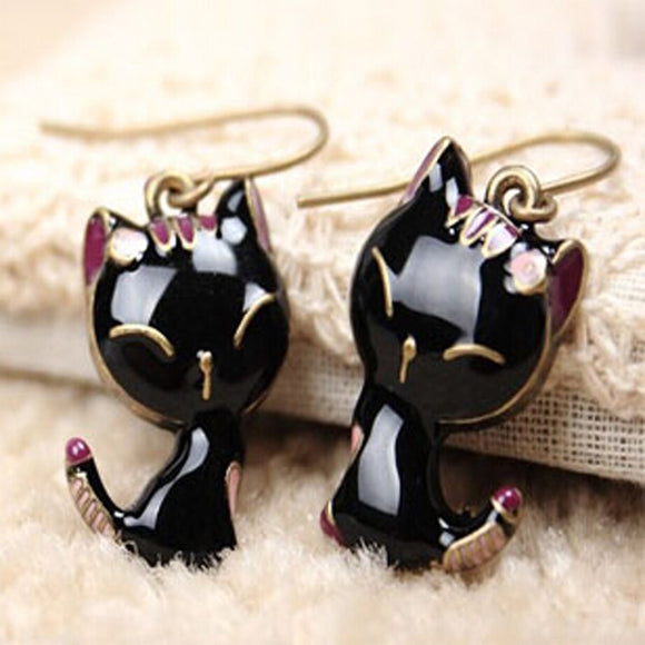 Cute Black Kitty Earrings - KittyCatPurrfect