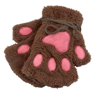 Plush Paw Short Fingerless Gloves - KittyCatPurrfect