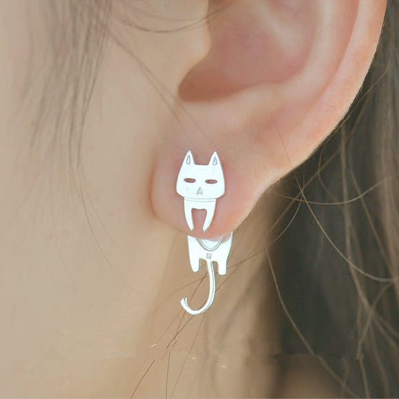Sterling Silver Cat Hanging & Fish Stud Earrings - KittyCatPurrfect