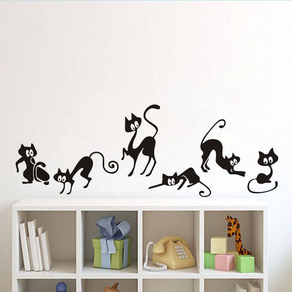 Lovely 6 Black Cute Cats Wall Sticker - KittyCatPurrfect