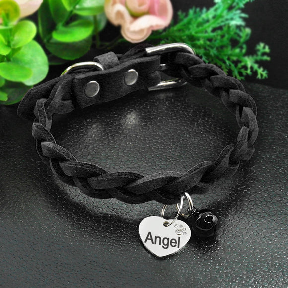 Suede Leather Personalized Collar - KittyCatPurrfect