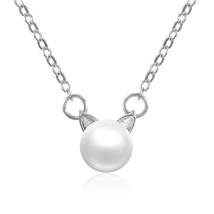 Kitty Ears Pearl Necklace - KittyCatPurrfect